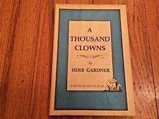 A Thousands Clowns Herb Gardner Author's First Play Book Club Edition HC DJacket