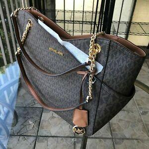 Michael Kors Women Leather Shoulder Tote Chain Handbag Purse Satchel Bag Brown