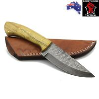 Handmade Hunting Knife, Damascus Blade, Walnut Wood Handle, Leather Sheath