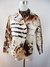 Italian Designer Womens Vtg Abstract Print Elegant Suit Blazer Jacket sz L BJ31