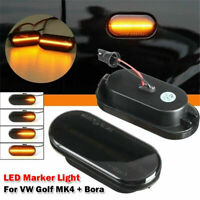 Pair Dynamic Flowing LED Side Marker signal Light Indicator Repeater For VW Ford