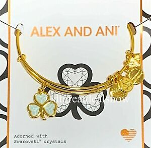 "ALEX AND ANI ""SHAMROCK"" GOLD BANGLE  BRACELET ADORNED WITH SWAROVSKI CRYSTAL"