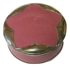 Pink Moroccan Star Small Lidded Canister Trinket Glazed Terracotta & Silver