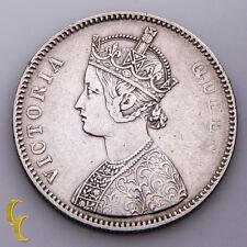 1862 India Silver Rupee Bombay Mint Bust A, Type II Reverse KM #473.1