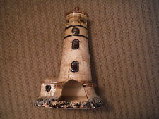 """Brown Speckled Ceramic Lighthouse Candle Holder 10"""" Tall"""