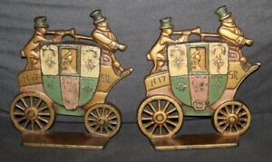 Antique CAST IRON London Royal Mail BOOKENDS Stagecoach A.A.W. -1