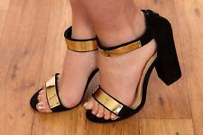 black & gold metal plate single strap chunky barely there heels size 5