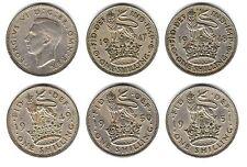 5 X 12d 1s un chelín George Vi 1947 1948 1949 1950 Inglés de 1951 Inglaterra C