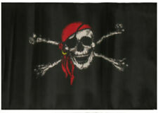 """12x18 12""""x18"""" Jolly Roger Pirate Red Hat Sleeve Flag Boat Car Garden"""