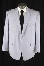 mens blue white stripe SADDLEBRED seersucker jacket blazer sport suit coat 50 R