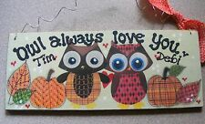 "OWL COUPLE NAME SIGN ~PERSONALIZED:great gift -3X7""CUTE !"