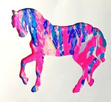 New Horse pillow made with LILLY PULITZER Rainbow Soleil fabric