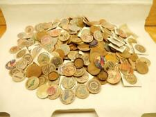 Large Lot Wooden Nickel, Milk Caps, Tokens, Pop Tops, 3+ Pounds     #BB01