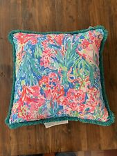 Pottery Barn LILLY PULITZER FAN SEA PANTS Indoor Outdoor Pillow PINK *Beach Pool