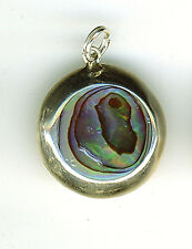 "925 Sterling Silver Abalone / Paua Round Pendant  1"" 25mm Diameter"