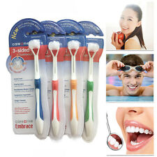 Adult Child Tooth Brush Three Head 3 Sided Toothbrush Ultrafine Easy to Use