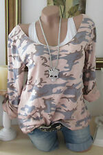 D&F 2TLG SHIRT TOP CAMOURFLAGE ARMY MILITARY STIL LUREX KANTEN ROSA 36 38