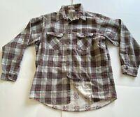 Vintage Sears Fieldmaster Perma-Prest Plaid Flannel Long Sleeve Shirt XL Tall