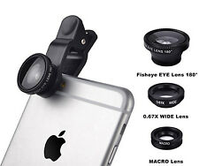3 in1 Fish Eye+ Wide Angle + Macro Camera Clip-on Lens For iPhone 6S Samsung/LG
