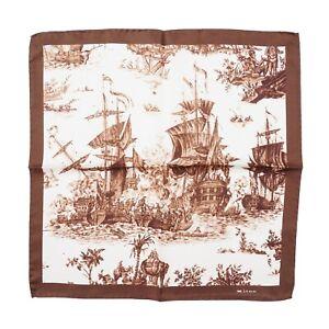 Kiton Napoli Chocolate Brown Naval Ship Battle Print Silk Pocket Square