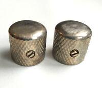 2 Boutons Dome Telecaster Metal Nickel AGED Gros Grains pour pots SplitShaft 6mm