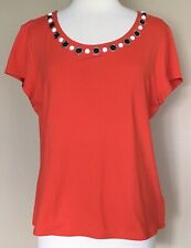 Ruby Rd. Stretch Knit Top Bead Embellished Scoop Neck Cap Sleeves Orange Sz L