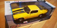 Maisto 1:18 Scale 1971 Chevrolet Camaro - Yellow - Diecast Toy Model Car TOY