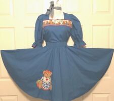 SQUARE DANCE DRESS 2 PIECE AND TIE, BLUE WITH TEDDY BEARS  S/M