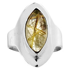 Golden Rutile 925 Sterling Silver Ring Jewelry s.8 5961R