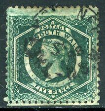 Australia 1860 NSW 5p Blue Green  Perf 11 VFU G294 ⭐⭐⭐⭐⭐⭐