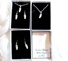 Feathers Appear When Angels are Near Remembrance Silver Feather Necklace/Earring