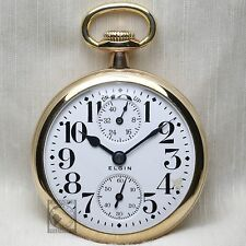 1918 Elgin 21 Jewel Father Time RAILROAD Grade Pocket Watch Up/Down Indicator
