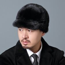 Winter men Real Mink Fur Hat Headgear Beanie Beret Cap