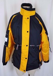 Vintage SnoRider K-Speed Yellow Vented Snowmobile Jacket Parka Womens S Canada