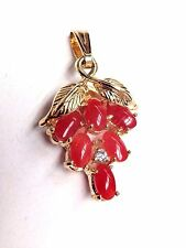 Natural Untreated Oxblood Red Coral and Diamond 14K Gold Bail Pendant