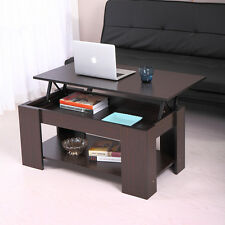 Walnut Coffee Table Lift-Top Storage Shelves Wood Living Room Furniture Table