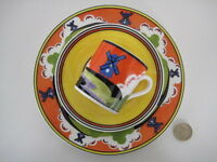 CLARICE CLIFF WEDGWOOD WINDMILL COFFEE CUP & SAUCER PLATE DECO POTTERY TRIO CHIC