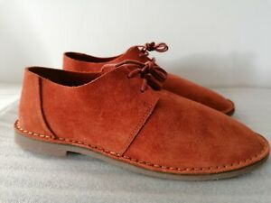 CLARKS ERIN WEAVE WOMENS RUST SUEDE LACE UP FLAT CASUAL SHOES UK SIZE 4.5