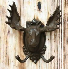 Cast Iron Vintage Heirloom Western Rustic Bull Moose Head Wall Double Coat Hooks