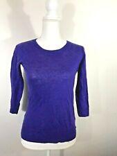 J.CREW Purple Knit Linen 3/4 Sleeve Crew Neck Sweater SZ.XXS 2XS