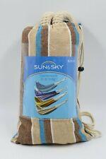 Sun & Sky Beige Blue Stripe Portable Hammock In A Bag NEW