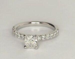 1.06 Ct Cushion Cut Diamond Engagement Wedding Ring White Gold Finish Size J K L