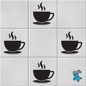 Coffee Cups Vinyl Wall Tile Stickers Decals Transfers Kitchen Home Decor