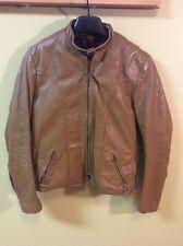 Vintage Brooks Tan Leather Cafe Racer Motorcycle Biker Jacket Size 40