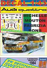 DECAL 1/43 AUDI QUATTRO A2 MICHELLE MOUTON SWEDISH R. 1984 2nd (01)