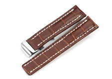 22mm Genuine Leather Strap Watch Band & Deployment Clasp For Breitling Navitimer