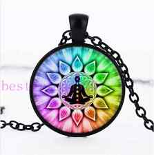 Flower of Life chakras Photo Cabochon Glass Black Chain Pendant Necklace