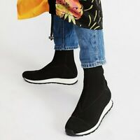 FREE PEOPLE Black Astral Sneaker Boots Pull On Knit Sock Boot EU 39 US 8-8.5