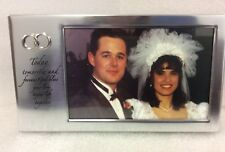 """SILVER """"Wedding"""" Photo Frame W/ Today, Tomorrow inscription etched into it"""