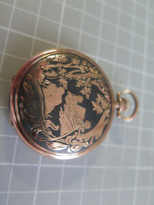 Pocket Watch French Sterling Silver Niello & 9kt Gold Antique niello Art Nou